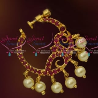 N13671R Ruby Stones Gold Plated Screw Lock Wear Nose Pins Ring Shop Online