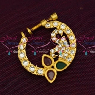 N14200 AD Semi Precious Stones Screw Nath Nose Pin Gold Plated Party Wear Jewellery Online