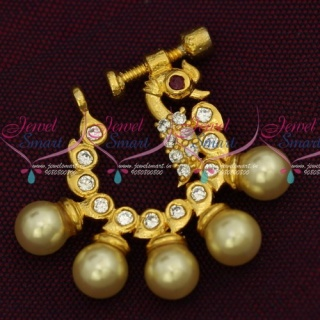 N14212 Pearl Drops Latest Fashion Jewelry Nath Nose Pin AD Screw Lock Design Online