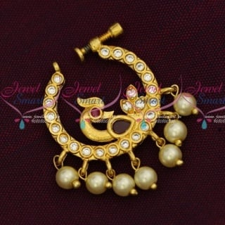 N14222 Non Piercing Nose Pins AD Gold Plated Screw Lock Nath Designs Semi Precious Stones