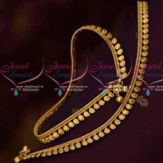 P14119 Mango Design Plain Gold Plated Traditional Anklets South Indian Jewellery Online