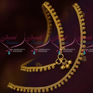 P14120 Spiral Design Thin Gold Plated Covering Anklets South Indian Jewellery Online