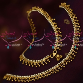 P14164 White Stones Fancy Bead Drops Gold Covering Daily Wear Anklets South Indian Jewelry Online