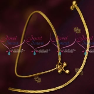 P14166 Flat Chain Design Plain Gold Covering Daily Use Anklets South Indian Design Online