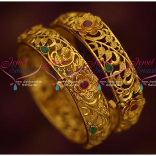 B14676 Gheru Reddish Finish Screw Floral Design Broad Bangles Latest Fashion Jewellery Online