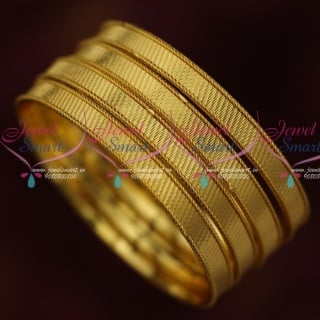 B14647 Daily Wear 4 Pieces Gold Covering Bangles Smooth Inside Finish Imitation Jewellery Online