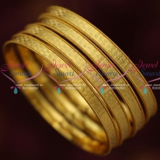 B14648 Latest 4 Pieces Self Design Smooth Daily Wear Jewellery Micron Covering Bangles Online