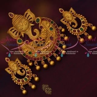 PS14742 Lord Ganapathy Design Pendant Matching Earrings Temple Traditional Jewelry Online
