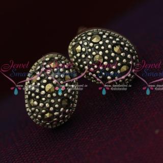 ER15855 92.5 Silver Jewellery Small Oval Antique Oxidised Earrings Online