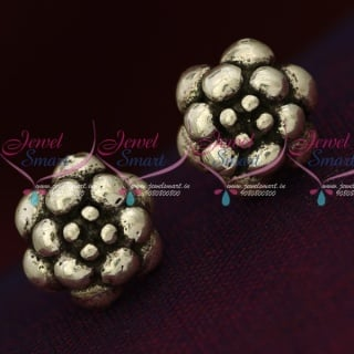 ER15859 92.5 Silver Jewellery Small Flower Design Antique Oxidised Earrings Online