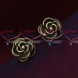 ER15860 92.5 Silver Jewellery Small Rose Design Antique Oxidised Earrings Online