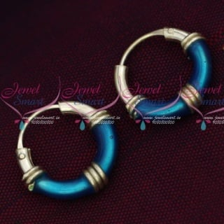 ER15846 92.5 Silver Jewellery Small Bali Hook Blue Earrings Kids Daily Wear Jewelry Online