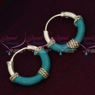 ER15847 92.5 Silver Jewellery Small Bali Hook Blue Earrings Kids Daily Wear Jewelry Online