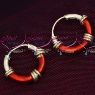 ER15848 92.5 Silver Jewellery Small Bali Hook Red Earrings Kids Daily Wear Jewelry Online