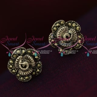 ER15854 92.5 Silver Jewellery Small Floral Antique Oxidised Earrings Online
