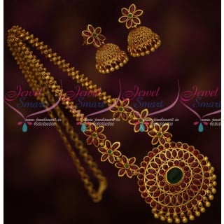 PS15240 Real Kemp Stones Floral Design Stone Chain Gold Plated Matching Jhumka Earrings Latest Imitation