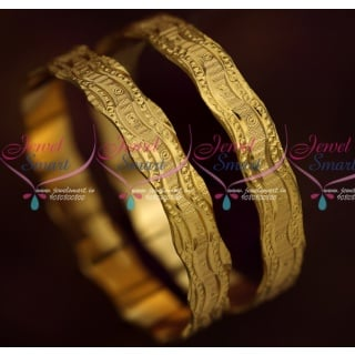 B15894 Broad Neli Curve Design Bangles 2 Pieces Set Gold Plated Daily Wear Jewellery Online