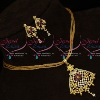 PS15453 AD Stones Dull Gold Matte Finish Chain Pendant Sets Online
