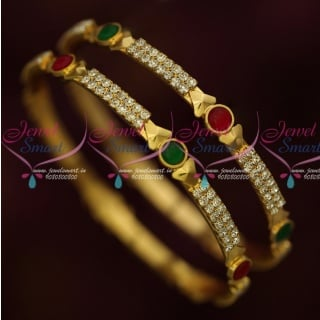 B15916 Kemp Red Green White Stones Gold Covering South Indian Jewellery Online