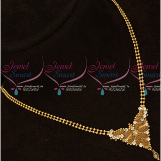 PS15945 Casual Wear Ball Chain AD White Stones Pendant Gold Covering Jewellery Online