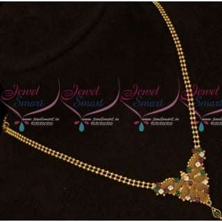 PS15949 Casual Wear Ball Chain Multi Color Stones Pendant Gold Covering Jewellery Online