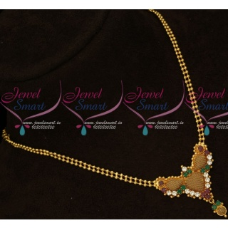 PS15953 Fancy Ball Chain AD Embossed Design Pendant Latest South Indian Jewellery Online