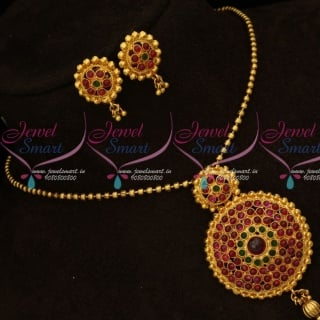 PS15711 Gheru Reddish Antique Gold Plated Real Kemp Red Green Stones Pendant Earrings Ball Chain Online