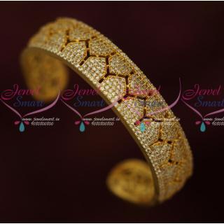 B16268 American Diamond Broad White Stones Open Kada Gold Plated Fashion Jewelry Online