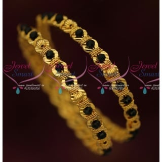 B16412 Black Beads Gold Covering Bangles Latest Fancy Imitation Jewellery Shop Online