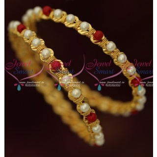 B16410 Pearl Red Beads Gold Covering Bangles Latest Fancy Imitation Jewellery Shop Online