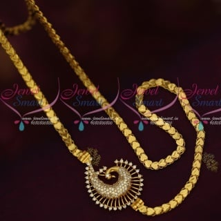 C16030 AD White Mugappu Kerala Style Chains Latest Gold Covering Jewellery South Indian Online