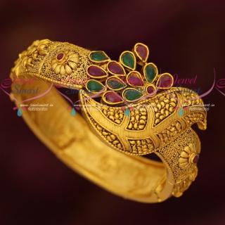 B17068 Broad Gold Matte Finish Artificial Jewellery Kada Bracelets Shop Online