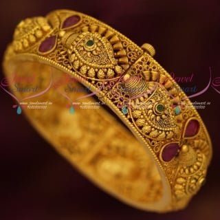 B17051 Broad Intricately Designed Gold Plated Antique Kada Bangles Screw Open