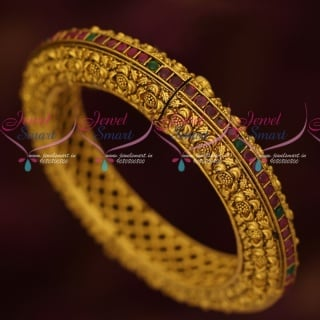 B17061 Floral Nakshi Design AD Stone Kada Antique Gold Plated Jewellery Online
