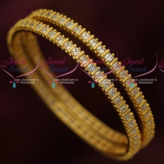 B17447 AD Square Stones Micron Gold Plated Daily Wear Bangles Shop Online