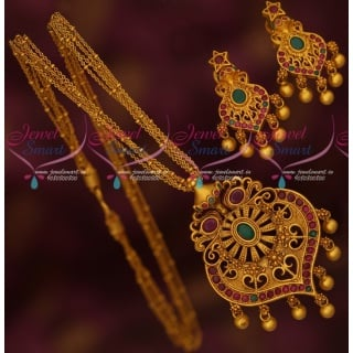 PS17458M Ruby Emerald Stones Multi Strand Thin Chain Reddish Gold Plated Pendant Earrings