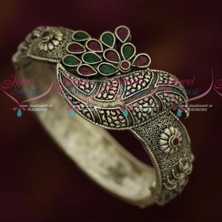 B17252 Silver Oxidised Antique Finish Artificial Jewellery Kada Bracelets Shop Online