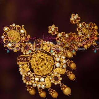 PS17207 Ruby White AD Chillai Temple Jewellery Big Pendant Earrings Shop Online
