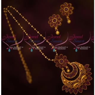 PS17169 Beads Chain Fancy Floral Ruby Pendant Set Fashion Jewellery Designs Online