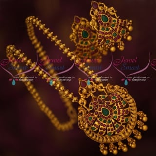 PS17715 Big Pendant Set Matte Gold Plated Chain Set Matching Earrings Online