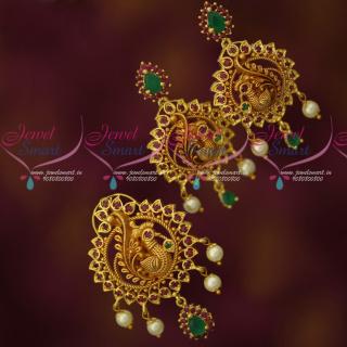PS17659 Peacock Imitation Jewellery Pendant Earrings Set Reddish Gold Plated