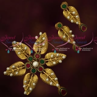 PS17881 Ruby Emerald Antique Premium Imitation Jewellery Gold Design Pearl Hand Setting Collections