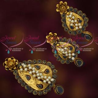 PS17864 Blue Stones Real Pearls Handmade Antique Pendant Earrings Set Gold Design Imitation Jewellery