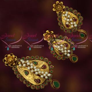 PS17866 Real Pearls Handmade Antique Pendant Earrings Set Gold Design Imitation Jewellery