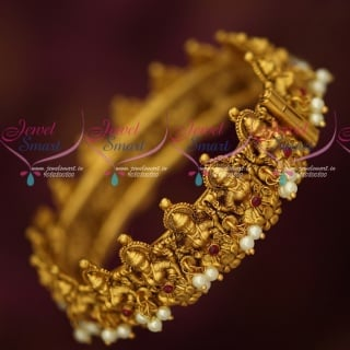 B17956 Temple Jewellery Pearl Danglers Matte Gold Plated Antique Kada Bangles Screw Open