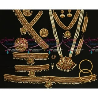 D18115 Classical Bharathanatiyam Dance Jewellery Set Multi Colour Stones Traditional Low Price Ornaments.