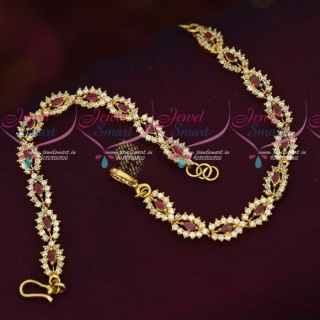 EC18234 American Diamond Stones Gold Plated Jewellery Ear Mattal Chain Accessory Online