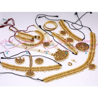 D18119 Classical Bharathanatiyam Dance Jewellery Set Multi Colour Stones Traditional Low Price Ornaments.