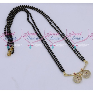 MS18258 Black Beads Mala 2 Strand AD Mangalsutra Traditional Jewellery Designs Online