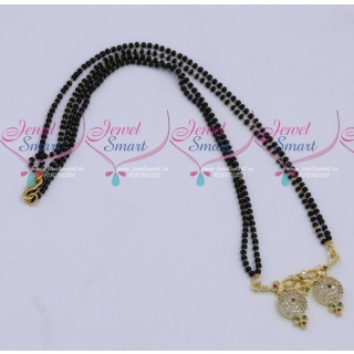 MS18259 Black Beads Mala 2 Strand AD Mangalsutra Traditional Jewellery Designs Online